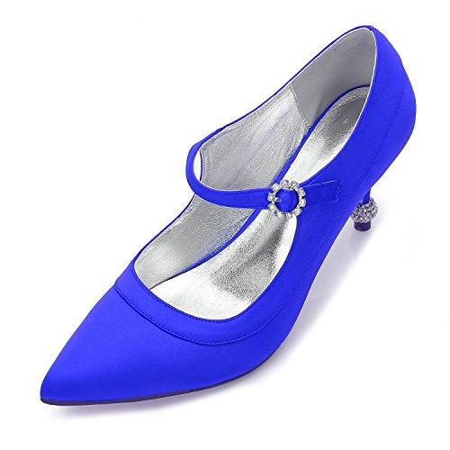 L@YC Trabajo De La Mujer Nupcial De La Boda Ocasionales De La Boda Del Gatito Del TalóN Partido Zapatos De La Corte CuñAs De Raso Baile De Fin De Curso Blue