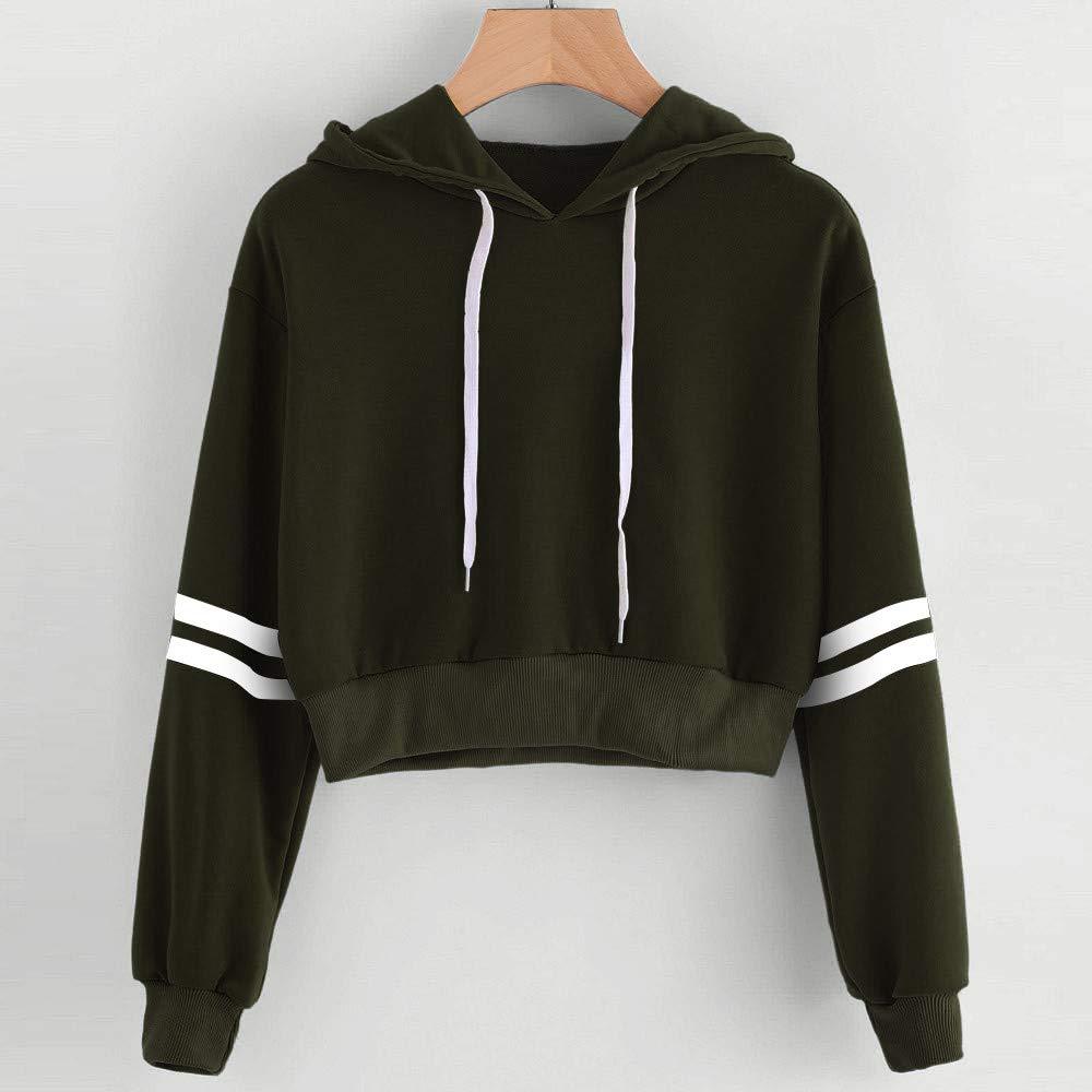 AMSKY Women Teen Girls Pullover Hoodie, Fashion Stripe Long Sleeve Print Sweatshirt Hooded Top Blouse at Amazon Womens Clothing store:
