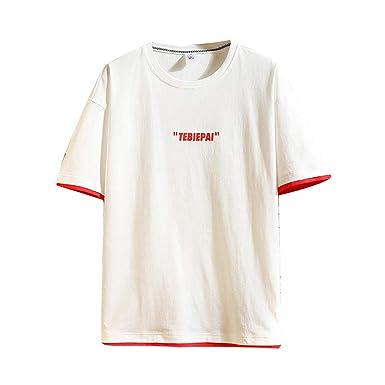 Overdose Camiseta de Hombre Moda Casual Impresión Suelta Manga ...