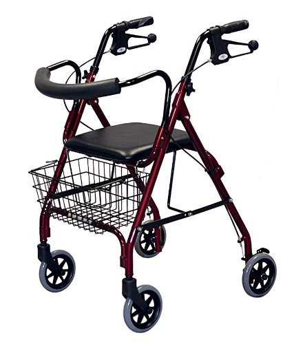 Medline MDS86810 Deluxe Rollators Burgundy