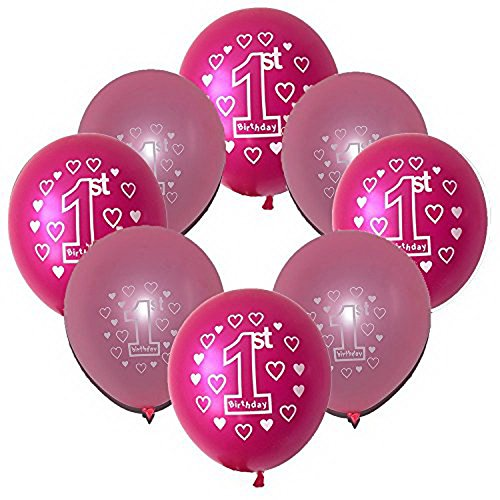 Baby Girl First Happy Birthday Party Latex Pink and Rose Red Color 12