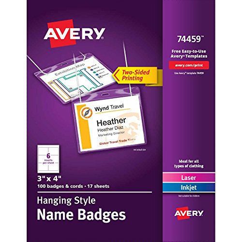 Avery Top-Loading Hanging Style Name Badges 74459, 3