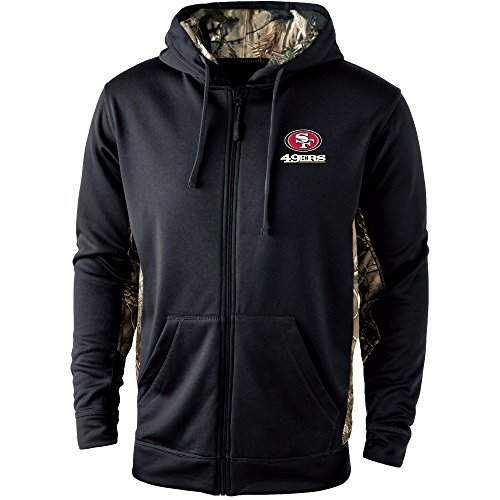 (Dunbrooke Apparel NFL San Francisco 49Ers Mens 5411Decoy Camo Accent Fullzip Tech Fleece, Black with Camo, Small)