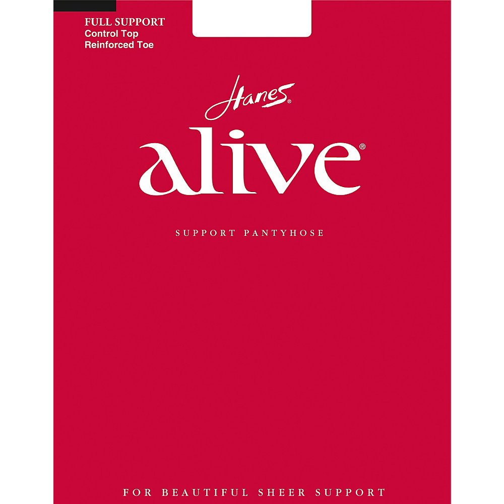 Hanes Alive Womens Nylon Full Support Reinforced Toe Sheer Pantyhose (Pack of 3), B, Barely Black