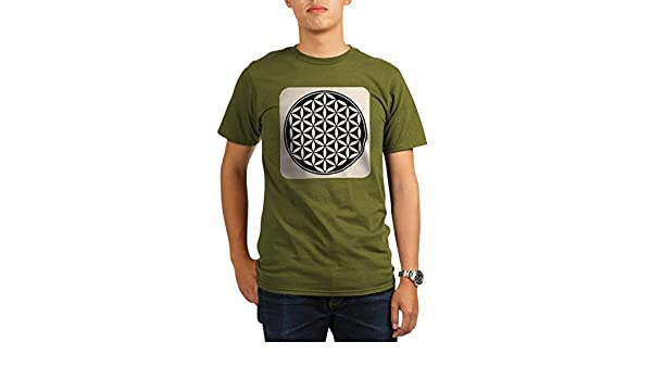 Amazon.com: Royal Lion Organic Mens T-Shirt Dark Flower of Life Peace Symbol: Clothing