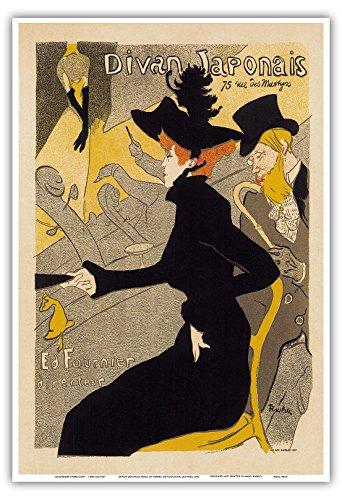 """Divan Japonais, 75 Rue des Martyrs, Paris; Cabaret Music Dance Hall;Belle Époque, Art Nouveau, Art Deco; Vintage French advertising poster; """"Les Maitres de l'Affiche"""" by Henri de Toulouse-Lautrec c.1892 - Master Art Print - 13in x 19in ()"""