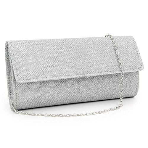 (HEKATE Women Clutches Glitter Evening Bags Party Clutch Purse (silver))