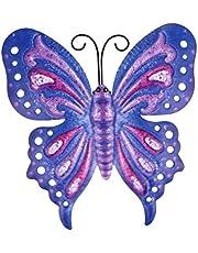 Cabilock Vlinders decoratie metaal muurkunst wandversiering ijzer muurschildering tuinfiguur dierfiguren voor terrassen thuis verjaardag bruiloft kerstfeest feest wanddecoratie tuindecoratie blauw