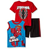 Marvel Little Boys' Spiderman 3 Piece Short Set, Red, 6