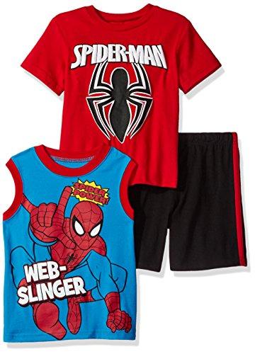 Marvel Little Boys' Spiderman 3 Piece Short Set, Red, 5