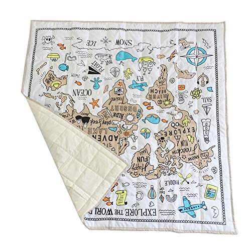 Ozzptuu Explorer World Map Pattern Baby Crawling Mat Square Shape Carpet Game Rug Floor Play Mat Kid's Room Decoration from Ozzptuu