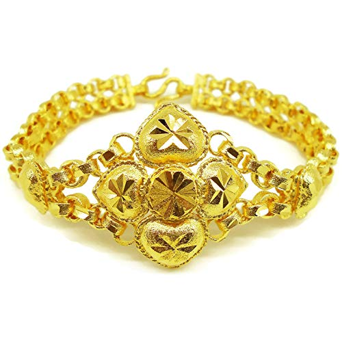 Heart Gold Bangle 24k Thai Baht Yellow Gold GP Filled Bracelet 7.5 Inch Jewelry Women Free Earrings ()