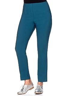 3a6bda973ea8cf Jeans sheego weite Leinenhose im Marlenestil Stoff-Hose Taillenhose Große  Größen Blau Kleidung & Accessoires