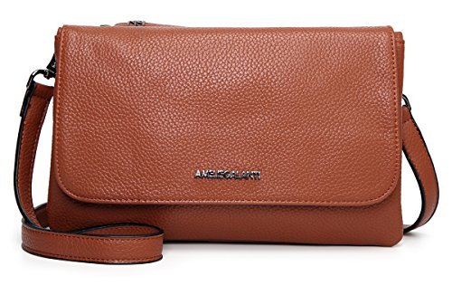 Leather Small Flap (AMELIE GALANTI Ladies Crossbody Purses for Women Flap Messenger Bag Leather Purse Brown)