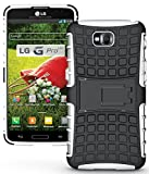 NAKEDCELLPHONE WHITE GRENADE GRIP RUGGED TPU SKIN HARD CASE COVER STAND FOR LG G PRO LITE PHONE (D680, D682, D684, D686, Unlocked)