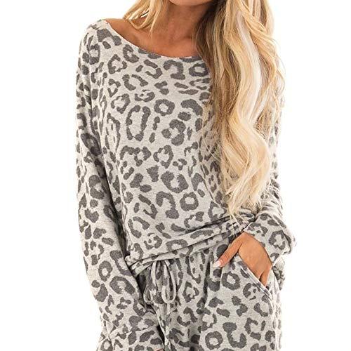 Women Tracksuit - Leopard Print Pants 2Pcs Sets Leisure Wear Lounge Wear Suit- 2019 New Gray (Pants Lounge Leopard)
