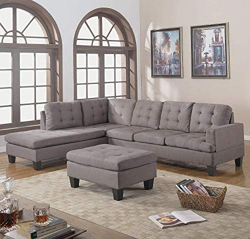 picture of Divano Roma Furniture 3-Piece Reversible Chaise Sectional Sofa -