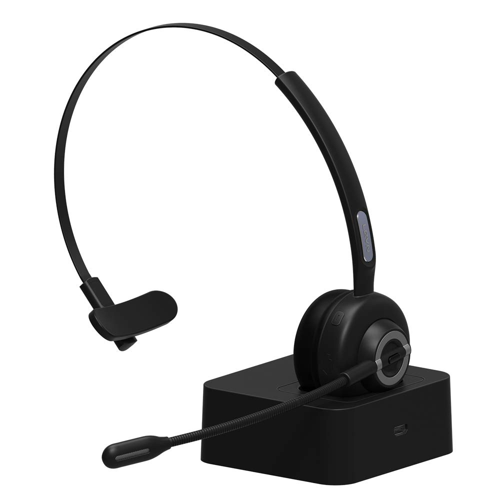 Trucker Bluetooth Headset/Bluetooth Phone Headset with Charging Station,17hrs Talk Time Office Bluetooth Headset with Noise Canceling for Truck Driver,Computer,Car,Call Center,Skype,VoIP,Support Music by Electronic Home