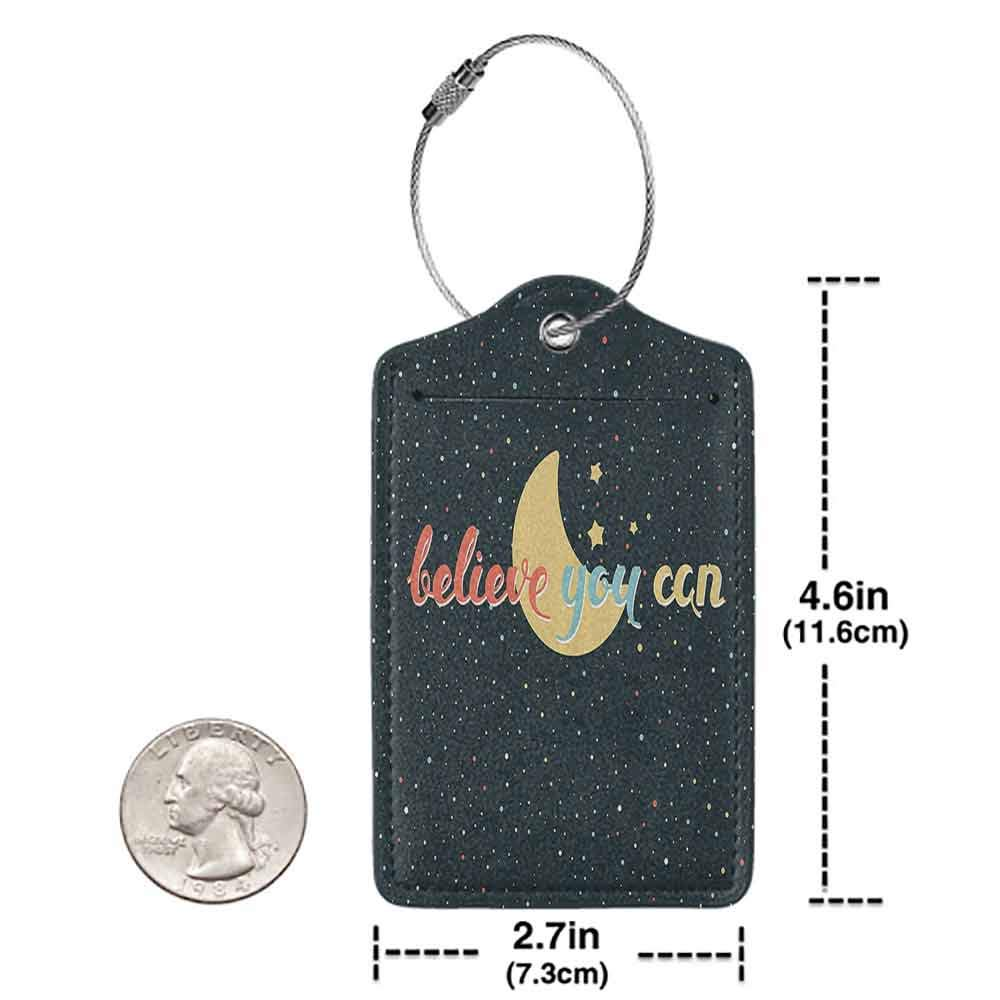 Personalized luggage tag Motivational Believe You Can Quote on Crescent Moon Stars Inspirational Image Easy to carry Black Yellow Coral Blue W2.7 x L4.6