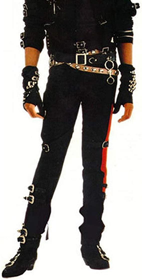 Amazon Com Thriller9 Michael Jackson Bad Pants With 2 Belts Classic Mj Professional Show Trousers Buckle Punk Pants Black Clothing
