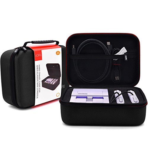 SNES Classic Case - VORI Travel Hard Carrying Case for Super NES Classic Mini, Fits for 2 Controllers and HDMI Cable, Perfect for SNES Classic Edition(2017) , Black
