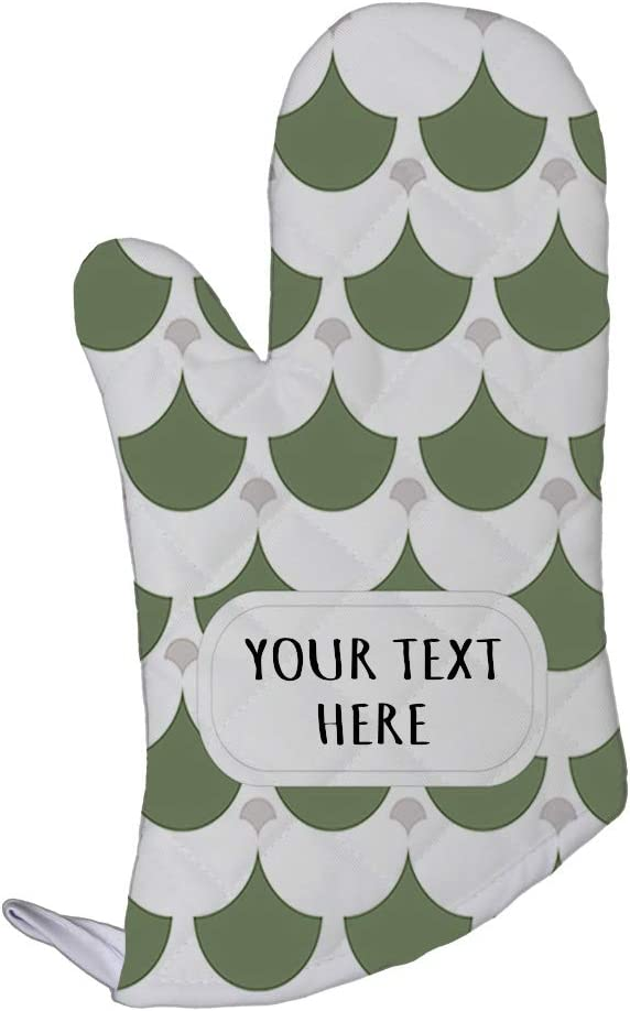 Style In Print Polyester Oven Mitt Custom Egyptian Design 1 Pattern Green Grey Adults Kitchen Mittens