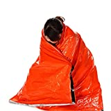Gymforward 2PC Emergency Sleeping Bag Outdoor Survival Blanket Thermal Reflective Cold Weather Shelter Tent Camping Hiking Multifunction Mat