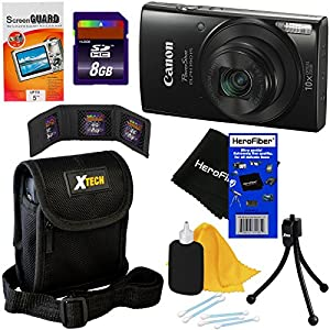 Canon PowerShot ELPH 190 IS Digital Camera with 10x Zoom, 720p HD video and Built-In Wi-Fi + Accessory Kit w/ HeroFiber Ultra Gentle Cleaning Cloth