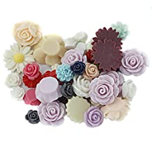 Pack of 50 Assorted Colors Size Resin Rose Flower Flatback Cabochons