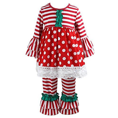 Wennikids Children Kids 2 Pieces Long Sleeve Ruffle Dress & Pants Outfits Medium Red Green