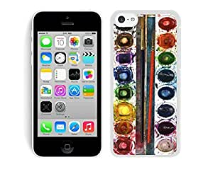 Amazing Silicone Iphone 5c Soft White Case Watercolor Sets with Brushes TPU Phone Cover by mcsharks