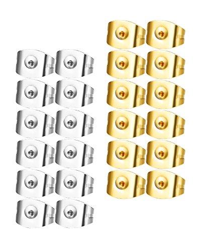 Gold Tone Sport Earrings (Udalyn 24 Pcs Replacement Earring Backs Stainless Steel Earring Accessories for Screw-Back Stud Earrings Style 3)