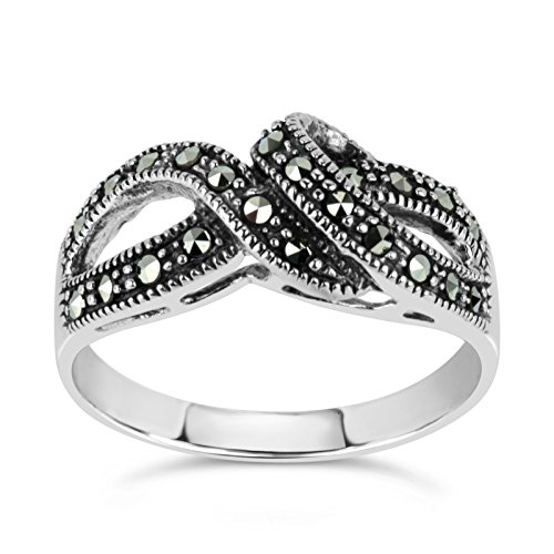 (Sterling Silver Marcasite Swirl Ring, Featuring Swarovski Marcasite (8) )