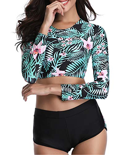 (Zando Women's Two Piece Swimsuits Crop Top Lace up Back with Boyshorts Bathing Suit Floral Long Sleeve Tankini Swimwear Green - White Floral X-Large (fits like US)