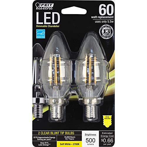 (Feit Electric BPCTC60/827/LED/2 Decorative Clear Glass Filament Led Dimmable 60 Watt Equivalent Soft White Torpedo Tip Chandelier Bulb (2 Pack), Candelabra, 60 Watt)