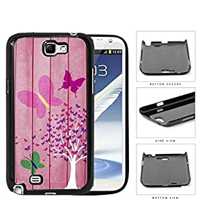Pink Butterfly Tree On Wood Backdrop Hard Plastic Snap On Cell Phone Case Samsung Galaxy Note 2 II N7100