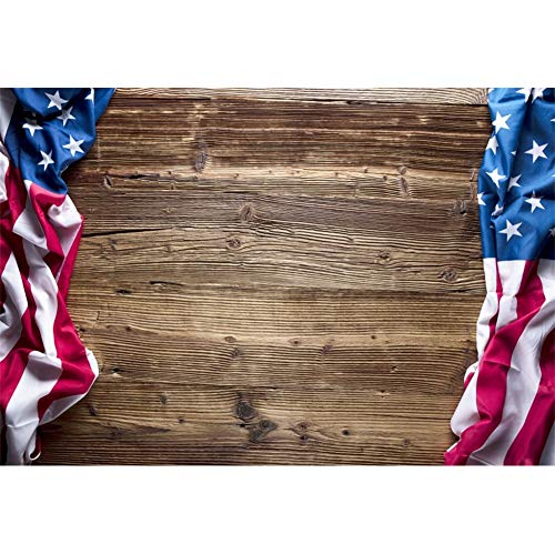 Leowefowa 6x5ft American Flag Vinyl Backdrop Vintage Wood Plank Backgroud USA Independence Day July 4Th Backdrops for Photography Labor Day Presidents' Day Patriotic Event Photobooth Props -