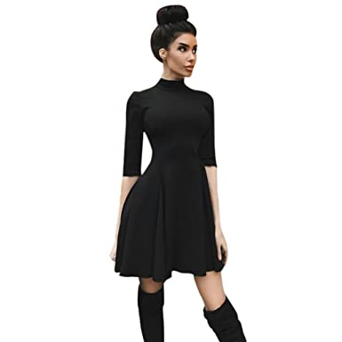 Longra Damen Kleider Schwarzes Kleid Damen Skaterkleid Jerseykleid 3 ...