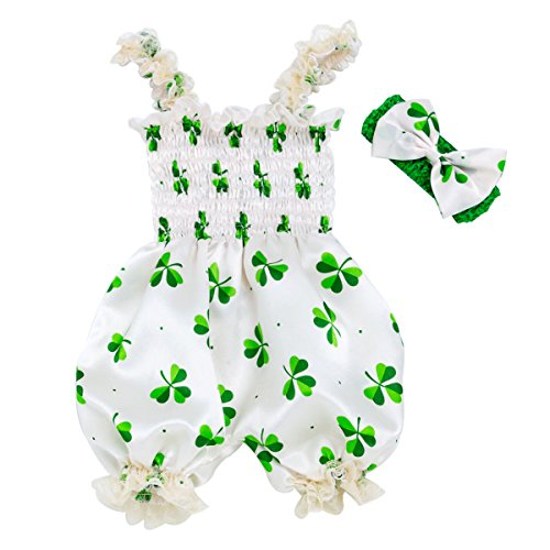 XMCOSOCS Baby Girls Shamrocks Bodysuit - St Patricks Day Irish Baby Shower Birthday Gift