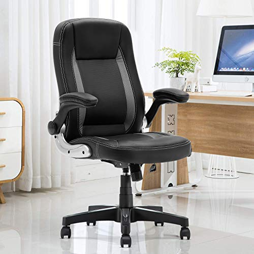 YAMASORO Office Chair High Back PU Leather Computer Desk Chair Swivel Chair Headrest and Lumbar Support Black Gray