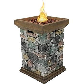 2b606fbb206d0 Sunnydaze Outdoor 30-Inch Tall Cast Rock Column Design Propane Gas Fire Pit