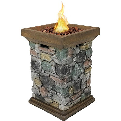 Sunnydaze Propane Fire Pit Column - Outdoor Gas Firepit for Outside Patio & Deck with Cast Rock Design - Lava Rocks, Waterproof Cover, and Steel Burner Included - 30 Inch Tall (Pits Fire Outdoor Butane)