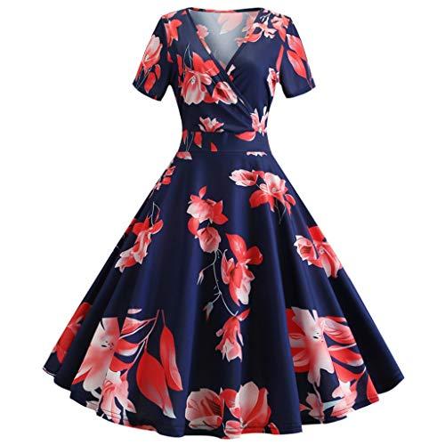 Women's Dress Vintage 1950s Retro Short Sleeve Print Evening Party Gown Prom Swing Dress Flared Tank Dress Romantic Casual Dark Blue]()