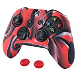 Pandaren Soft Silicone Thicker Skin Cover for Xbox One Controller Set (CamouflageRed skin X 1 + Thumb Grip X 2) For Sale