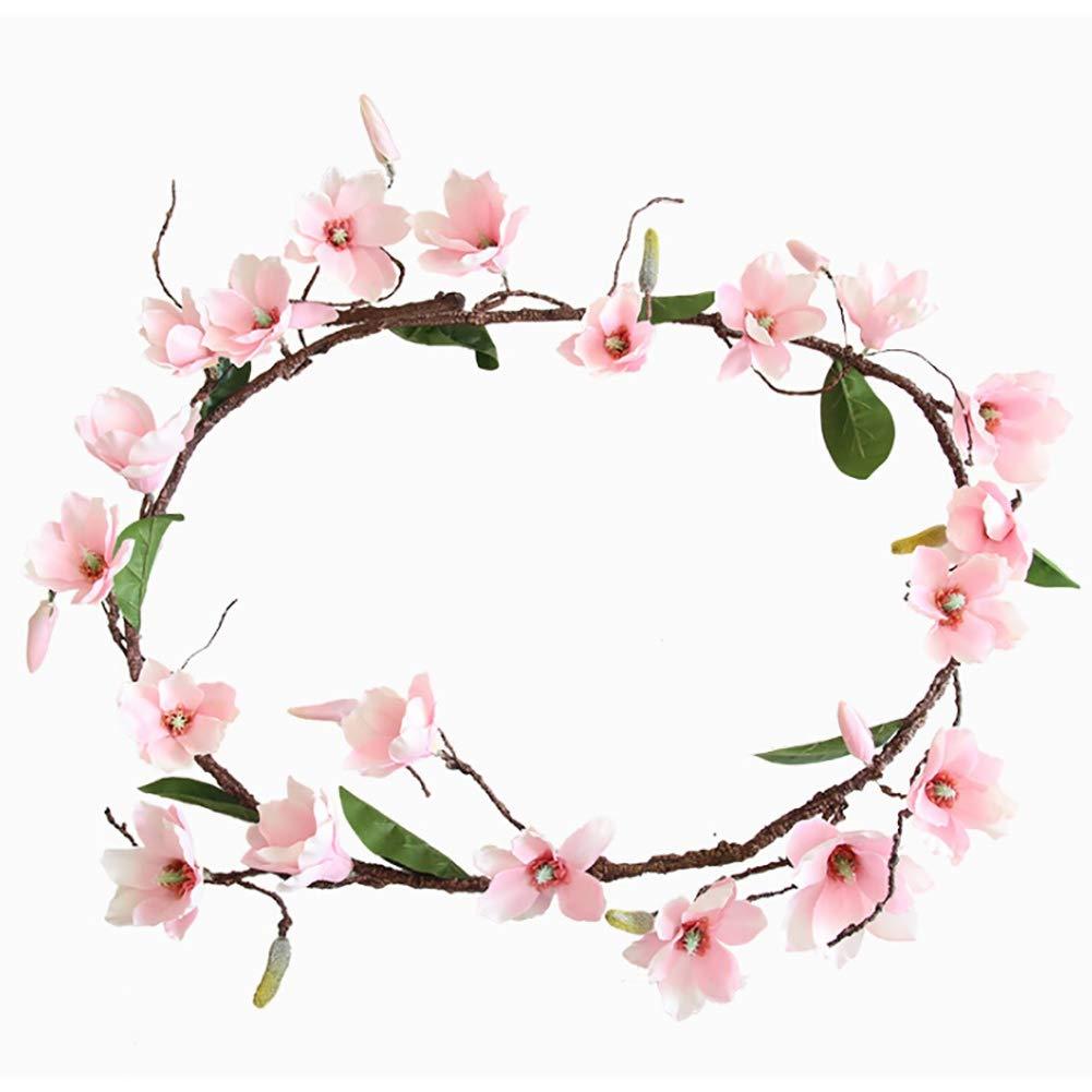 Escolourful 造花つる、1.8Mマグノリアのつる、バラのラタン壁掛けガーランド ホームウェディングバー装飾 180cm ピンク B07GSVZ8F6 ピンク 180cm