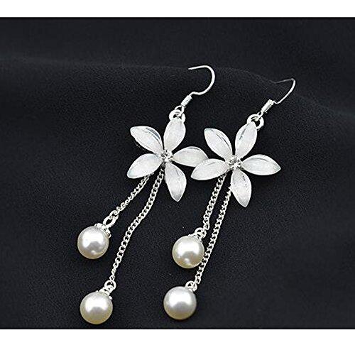 LuckySHD Women's 925 Sterling Silver CZ Long Chain Flower Pearl Dangle Drop Earrings Pearl 925 Silver Dangling Earring