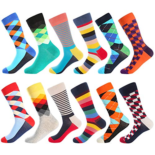 Dress Socks for Men & Women,Colorful Funny Crazy Novelty Fun Dress Socks Pack, Bonangel Cool Pattern Crew Socks Gift for Men -