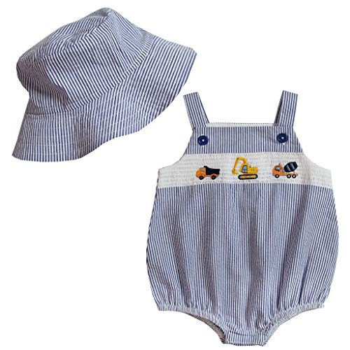 Boys Sunsuit - Good Lad Newborn/Infant Boys Seersucker Smocked Bubbles with Matching Seersucker Hat (Navy, 12M)
