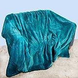 Intimates - Manta de tejido sintético (150 x 200 cm, tamaño grande, para sofá de 2 plazas), color verde azulado