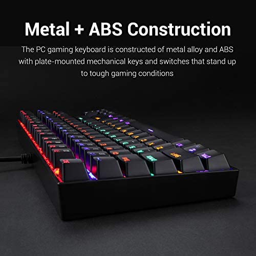 Redragon K552 Mechanical Gaming Keyboard RGB LED Rainbow Backlit Wired Keyboard with Red Switches for Windows Gaming PC (87 Keys, Black)